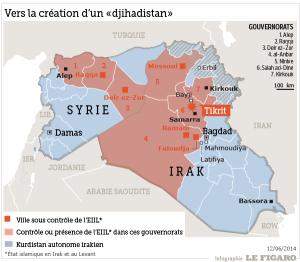 Situation de l'État islamique (pr Le Figaro)