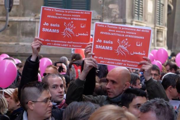 À Gênes, les manifestants soutiennent Shams (Photo de Facebook)
