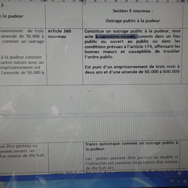 Aperçu du draft de l'article 360 du code pénal en projet en Côte d'Ivoire