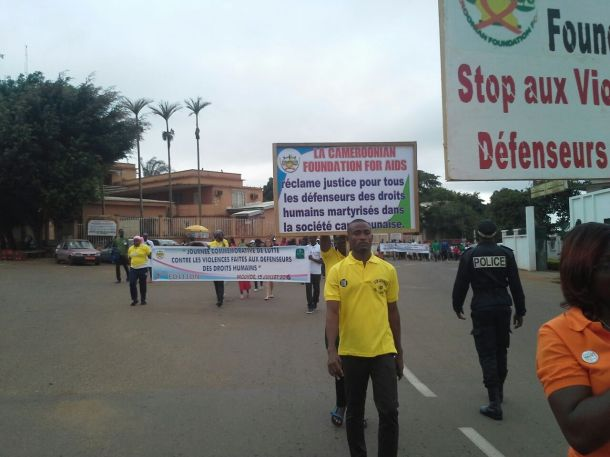 This month's march in Yaoundé, Cameroon, opposing violence targeting human rights defenders. (Photo from Facebook)