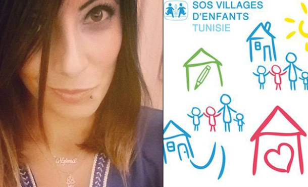 Najma Kousri Labidi (à gauche) et le logo de l'association SOS Villages d'Enfants (Photos de Kapitalis.com)