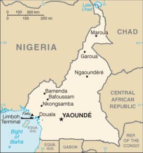 La localisation de la ville de Bafoussam au Cameroun. (Carte de Wikipedia)