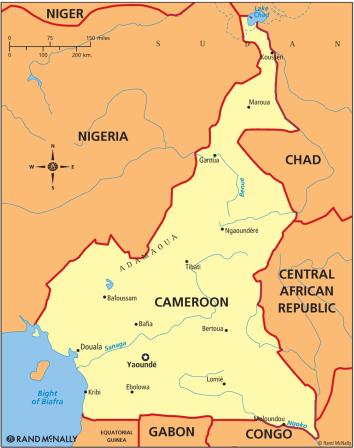 La localisation de la ville d'Ebolowa au Sud Cameroun. (Carte de Wikipedia)