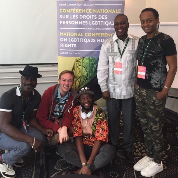 Michaël Cousin (le deuxième à partir de la gauche) et Dominique Menoga (le troisième) à la conférence nationale du 15 au 17 août 2017: Réalités LGBTTIQA2S : nos luttes, nos victoires, nos défis.