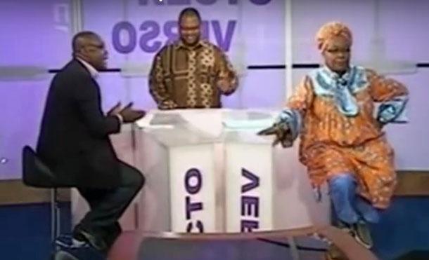Le débat entre Me Alice Nkom (à droit) et Sismondi Barlev Bidjocka (à gauche).