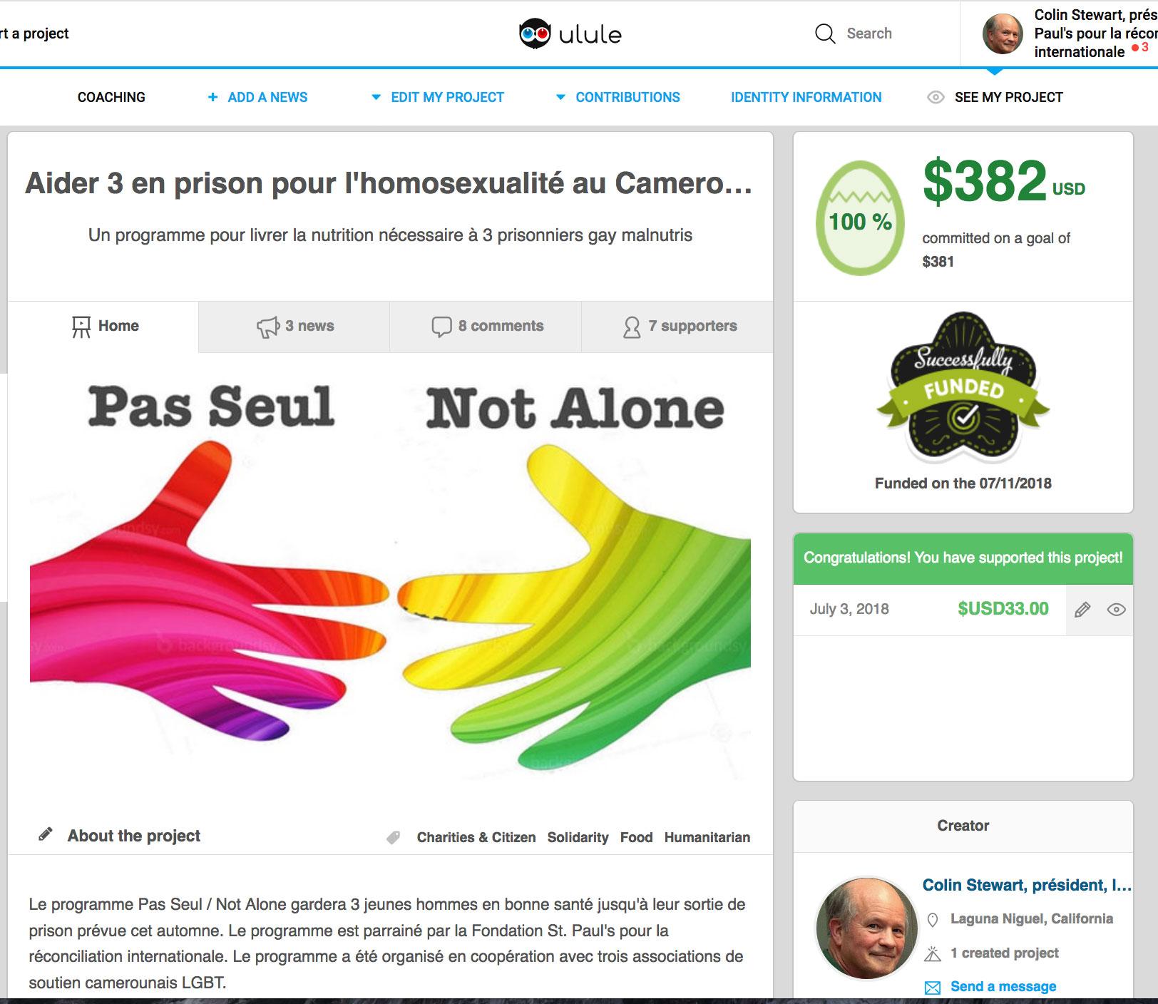 Merci, chers donateurs qui aident 3 victimes de l'homophobie