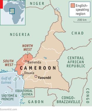 Bamenda est dans la région anglophone au nord-ouest du Cameroun. (Carte d'Economist.com)
