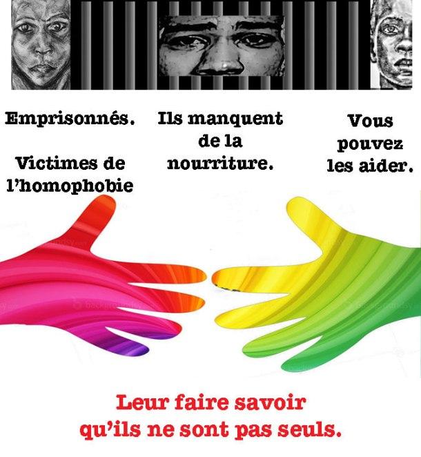 """Cliquez sur l'image pour contribuer à aider les prisonniers gays au Cameroun à travers le programme de nutrition Pas Seul / Not Alone. (Sur la page Facebook de la Fondation, cliquez le bouton """"Donate."""")"""