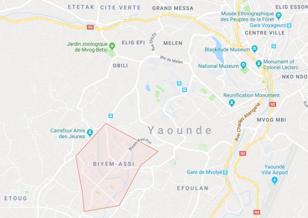 La localisation du quartier Biyem Assi à Yaoundé, Cameroun.