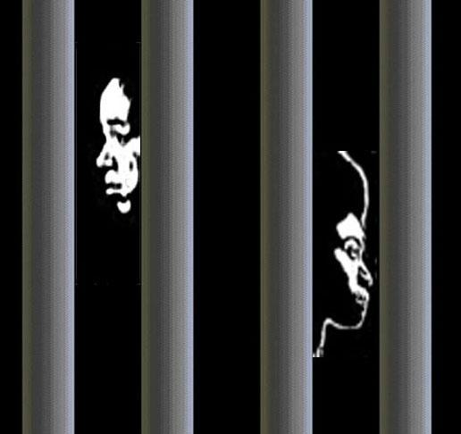 Pour nous aidez, cliquez sur l'image. Deux visages derrière les barreaux représentent Eva et Marie, des lesbiennes détenues au Cameroun que le projet Not Alone / Pas Seul s'efforce de libérer rapidement de la prison.