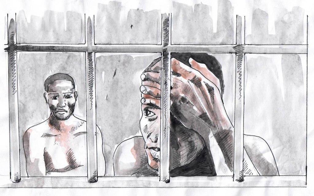CLIQUEZ SUR L'IMAGE POUR FAIRE UN DON AFIN DE LIBÉRER EVAN ET KANE. Illustration de Vincent Kyabayinze, East Africa Visual Artists (EAVA Artists)